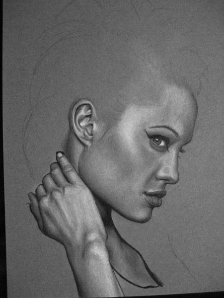 Angelina Jolie, WIP #3 - Skin mostly done. For the final drawing, I've added hair and refined the skin texture to a very fine structure.