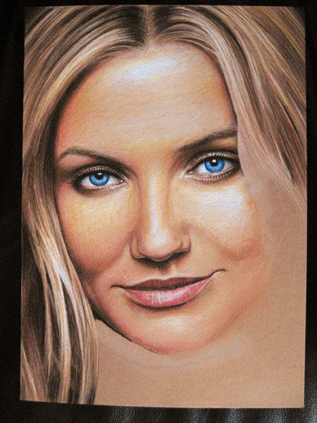 Cameron Diaz WIP 6/6: Almost there. For the final image I've also refined all other parts of the drawing.
