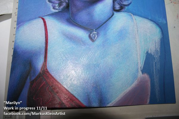 """Blue Marilyn"" WIP 11/11: nearly done. I have removed some of the white priming on her clothing as it is supposed to be more in shadows. The light reflection on this photo reveals some of the surface structure."